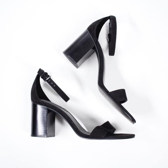 Zara Black Velvet Chunky Strappy Heeled Sandals 9